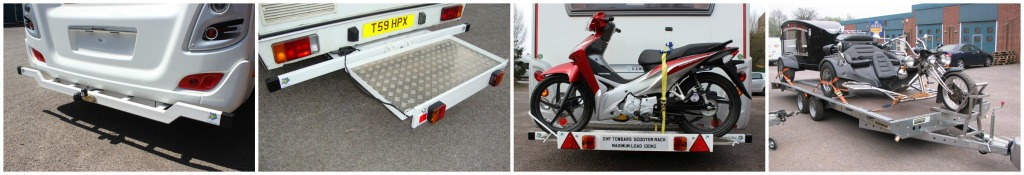 Motorhome bumper towbar, mobility scooter carrier, motor scooter rack and modified trailer.