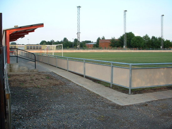 Galvanised steel spectator safety handrail, Bridgewater
