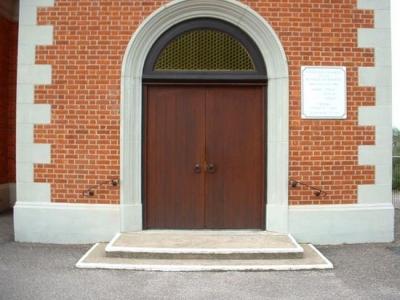 Bespoke steel safety handrails for church steps, Exeter, Devon