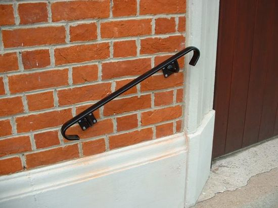 Bespoke steel safety handrail for steps, Exeter, Devon