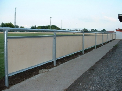 Galvanised steel angle frames, bolted to posts in spectator safety handrail, Bridgewater