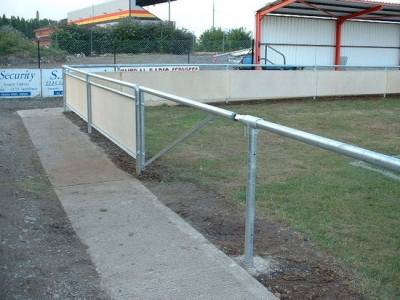 Galvanised steel access gate in spectator safety handrail, Bridgewater