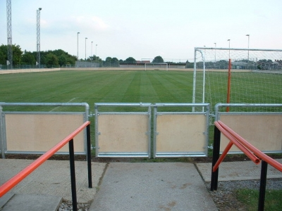 Galvanised steel gates were bespoke fabricated to suit the spectator handrail, Bridgewater