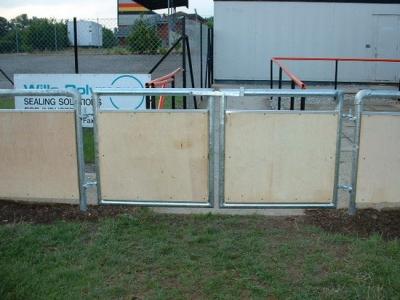 Galvanised steel gates in spectator handrail, Bridgewater