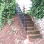 Bespoke steel safety handrail for steps, installed in Cullompton, Devon