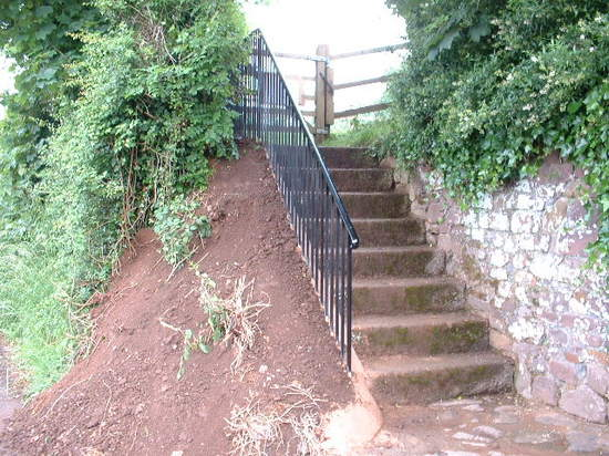Safety railing bespoke fabricated from solid mild steel for MDDC, Cullompton, Devon