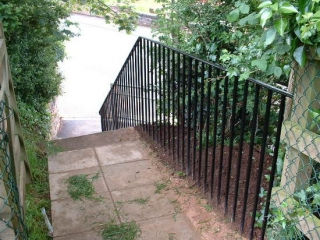 Safety railing bespoke fabricated from steel for MDDC, Cullompton, Devon