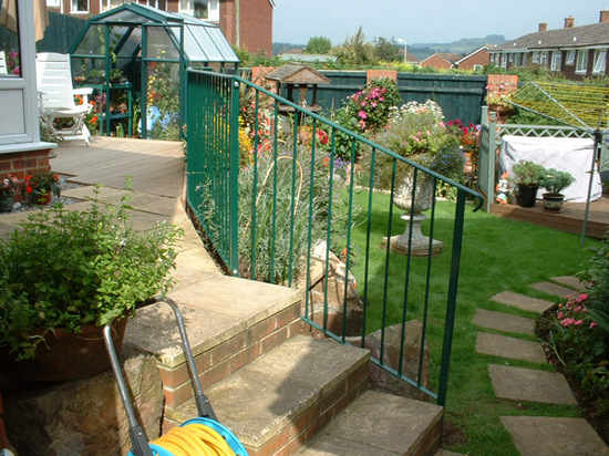 Bespoke mild steel railing for garden steps, Honiton, Devon