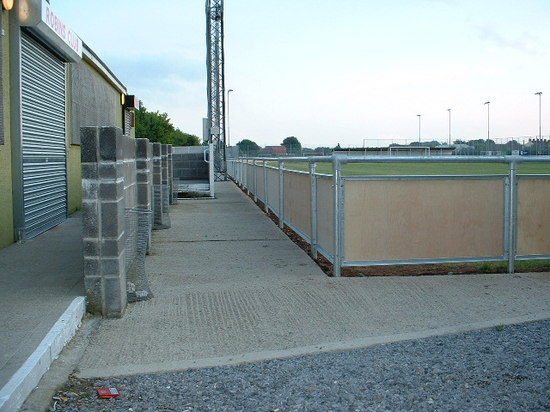 Circular steel tubular posts with galvanised steel, spectator safety handrail, Bridgewater