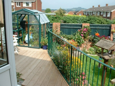 Mild steel railing for garden decking, Honiton, Devon