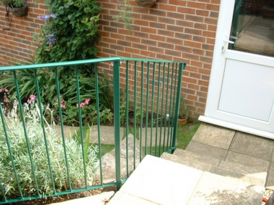 Fabricated steel railing for garden steps, Honiton, Devon
