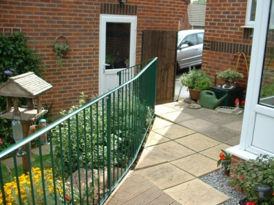 Patio and decking edge, fabricted garden handrailing, Honiton, Devon