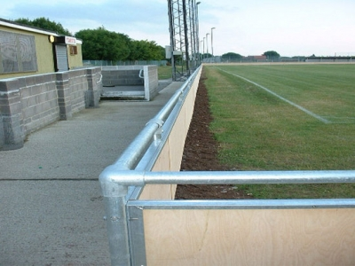 Fabricated steel spectator safety handrail, installed at Bridgewater