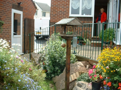 Fabricated steel garden railing in green, Honiton, Devon