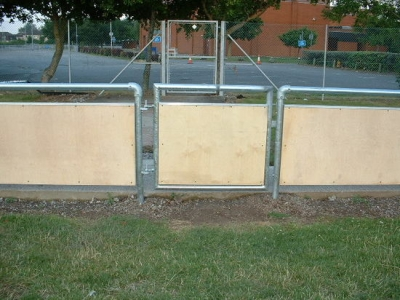 Galvanised steel spectator safety handrail access gate, Bridgewater
