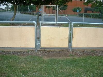 Galvanised steel spectator safety handrail access gate, Bridgewater