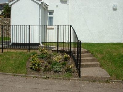Steel railings, curved handrail for steps, Honiton, Devon