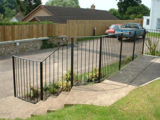 Bespoke fabricated mild steel garden hand railing, Honiton, Devon