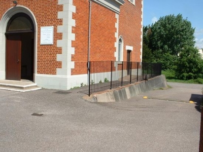 Fabricated mild steel safety handrail for a church, Exeter, Devon