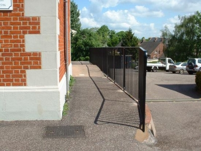 Bespoke fabricated steel handrail for safety, installed in Exeter, Devon