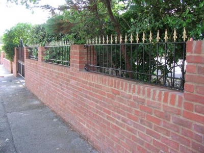 Arched drive gates and garden wall railings, Bournemouth.