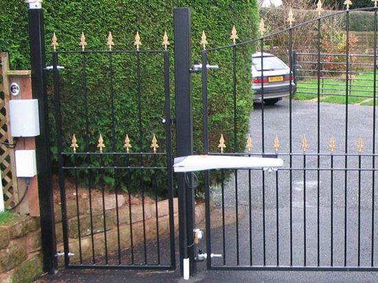 Installed, pedestrian gates, fabricated in mild steel, Devon.