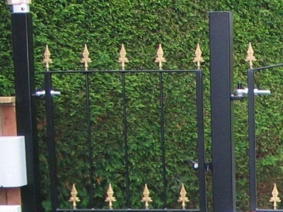 Pedestrian garden gate, fabricated in mild steel, Devon.
