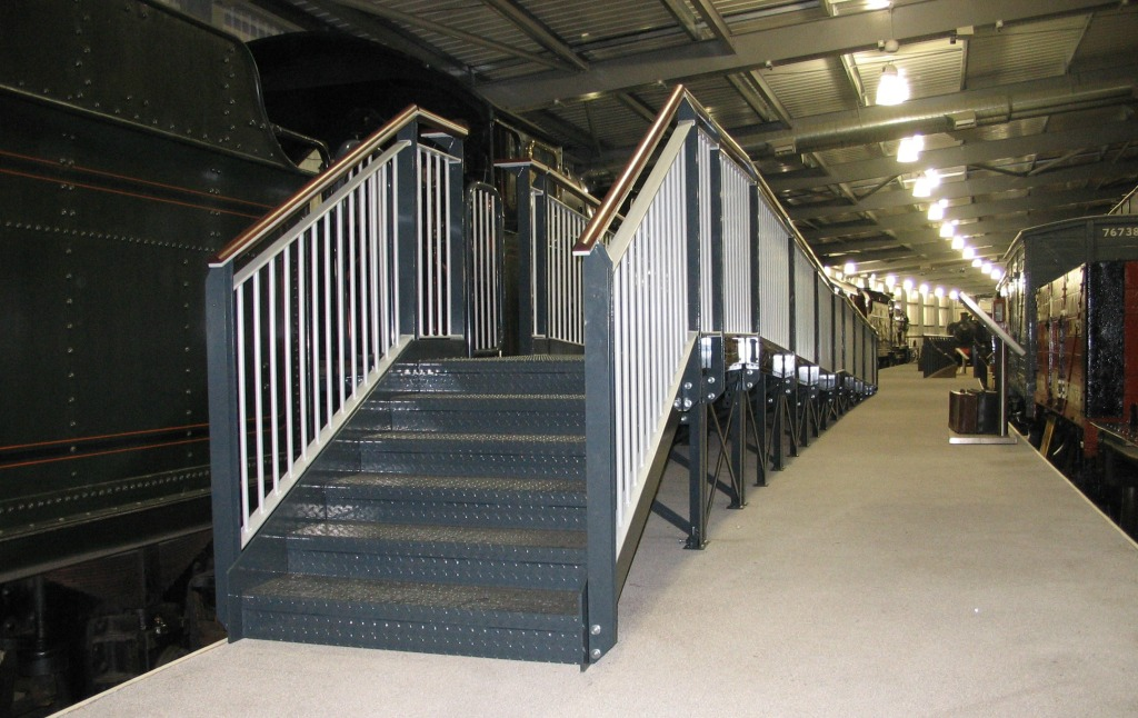 Disabled access ramp, bespoke steel fabricated and installed at The Engine House, near Highley, Bridgenorth